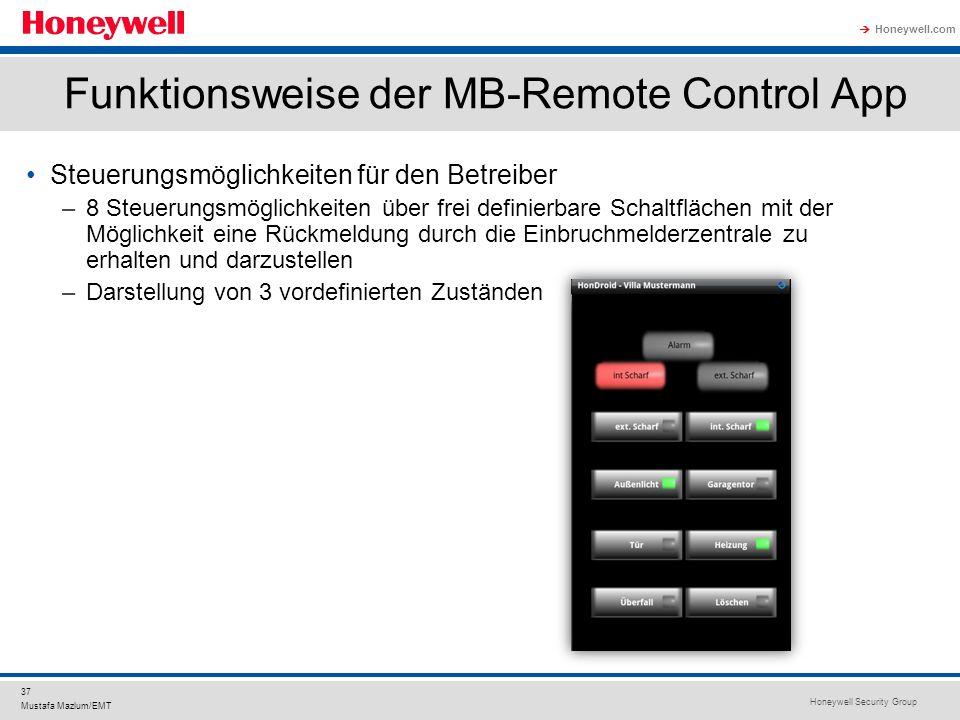 Honeywell Security Group Honeywell.com 37 Mustafa Mazlum/EMT Funktionsweise der MB-Remote Control App Steuerungsmöglichkeiten für den Betreiber –8 Ste
