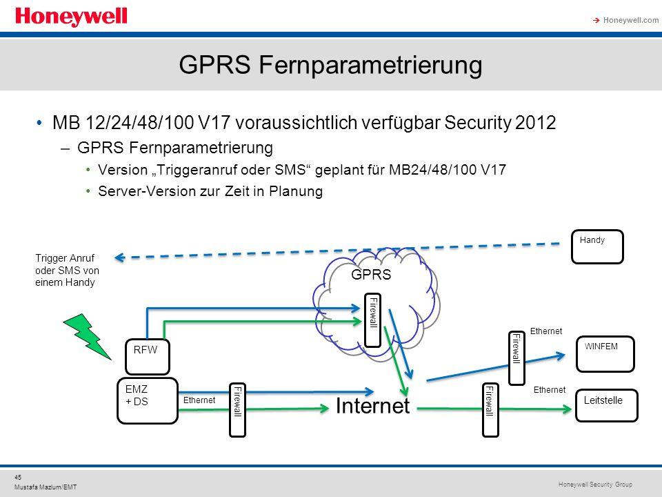Honeywell Security Group Honeywell.com 45 Mustafa Mazlum/EMT GPRS Fernparametrierung MB 12/24/48/100 V17 voraussichtlich verfügbar Security 2012 –GPRS