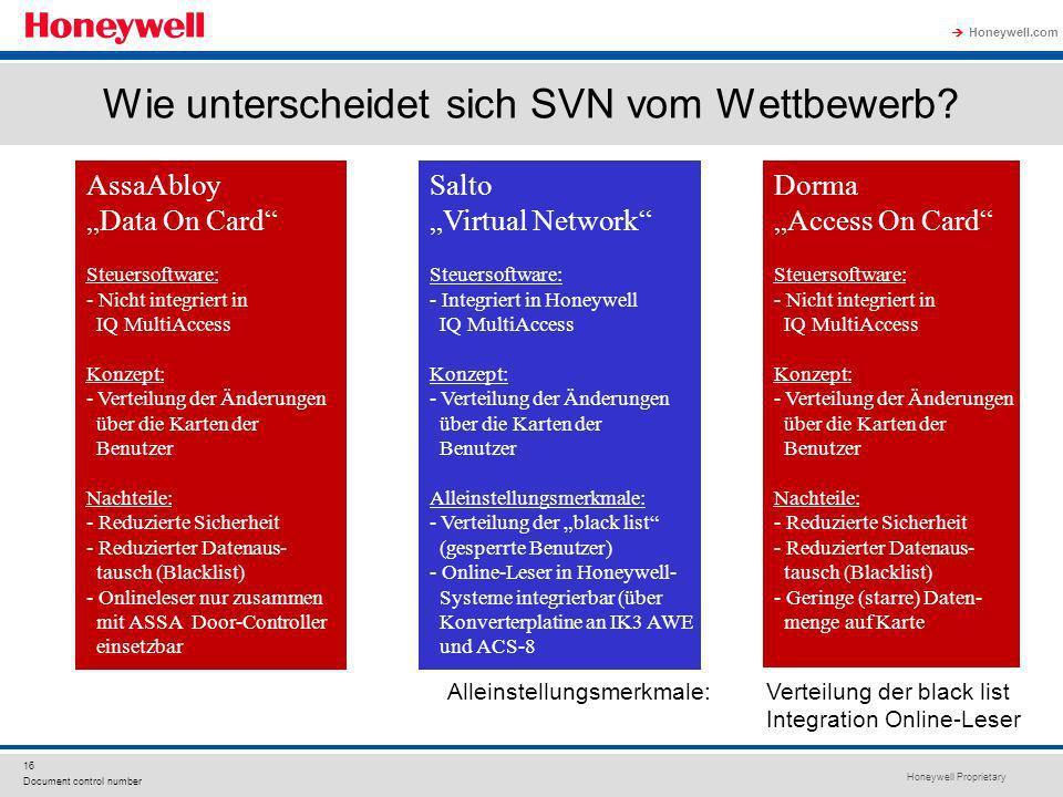 Honeywell Proprietary Honeywell.com 16 Document control number Wie unterscheidet sich SVN vom Wettbewerb? AssaAbloy Data On Card Steuersoftware: - Nic