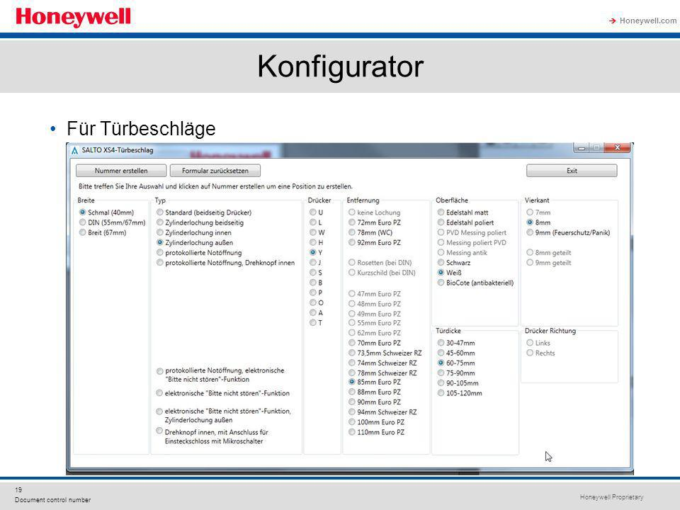 Honeywell Proprietary Honeywell.com 19 Document control number Für Türbeschläge Konfigurator