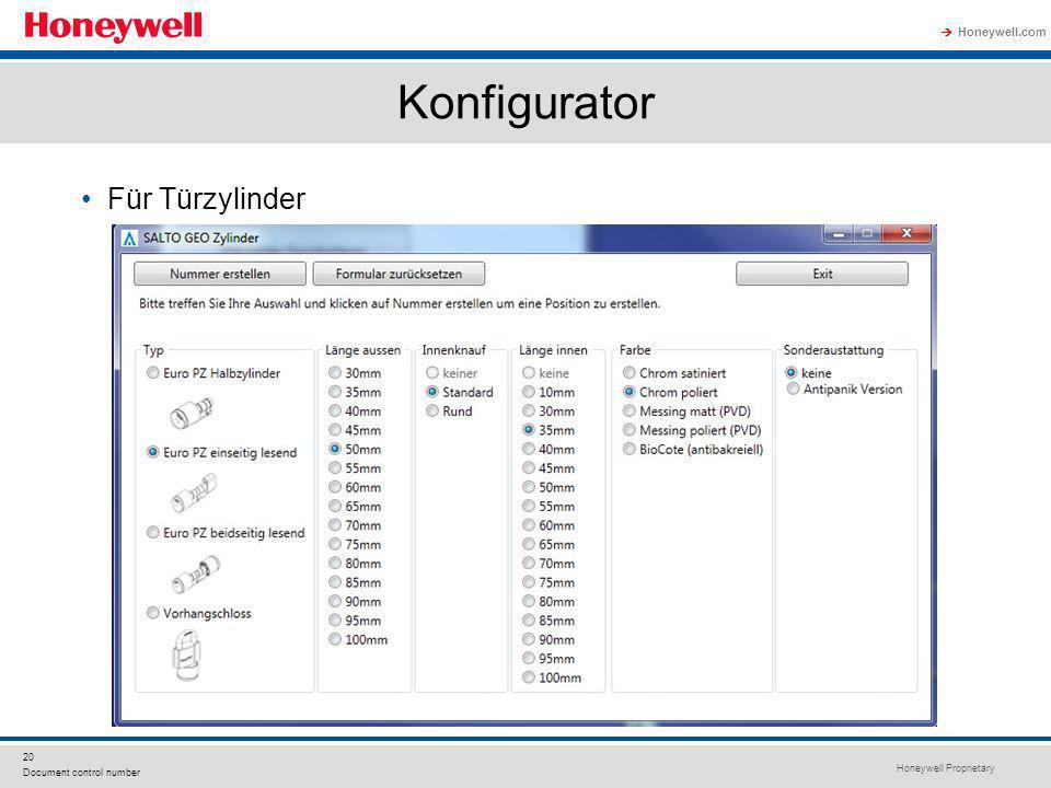 Honeywell Proprietary Honeywell.com 20 Document control number Konfigurator Für Türzylinder