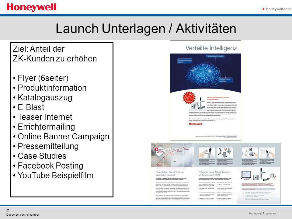 Honeywell Proprietary Honeywell.com 22 Document control number Ziel: Anteil der ZK-Kunden zu erhöhen Flyer (6seiter) Produktinformation Katalogauszug