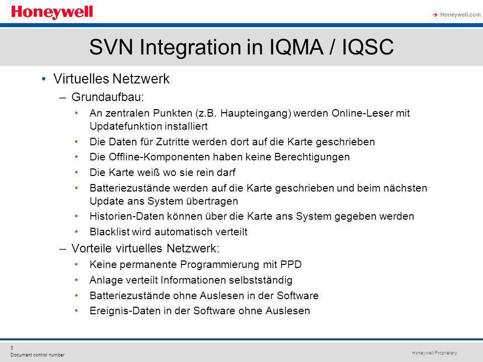 Honeywell Proprietary Honeywell.com 3 Document control number SVN Integration in IQMA / IQSC Virtuelles Netzwerk –Grundaufbau: An zentralen Punkten (z