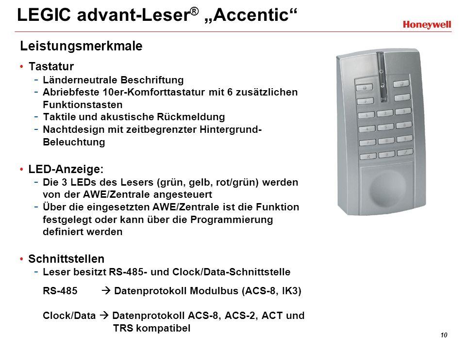 10 LEGIC advant-Leser ® Accentic Tastatur - Länderneutrale Beschriftung - Abriebfeste 10er-Komforttastatur mit 6 zusätzlichen Funktionstasten - Taktil