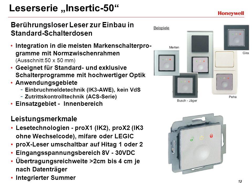 12 Leserserie Insertic-50 Integration in die meisten Markenschalterpro- gramme mit Normzwischenrahmen (Ausschnitt 50 x 50 mm) Geeignet für Standard- u