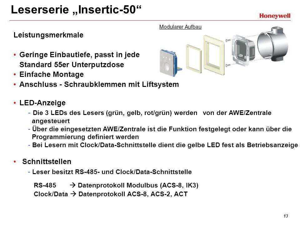 13 Leserserie Insertic-50 Leistungsmerkmale Geringe Einbautiefe, passt in jede Standard 55er Unterputzdose Einfache Montage Anschluss - Schraubklemmen