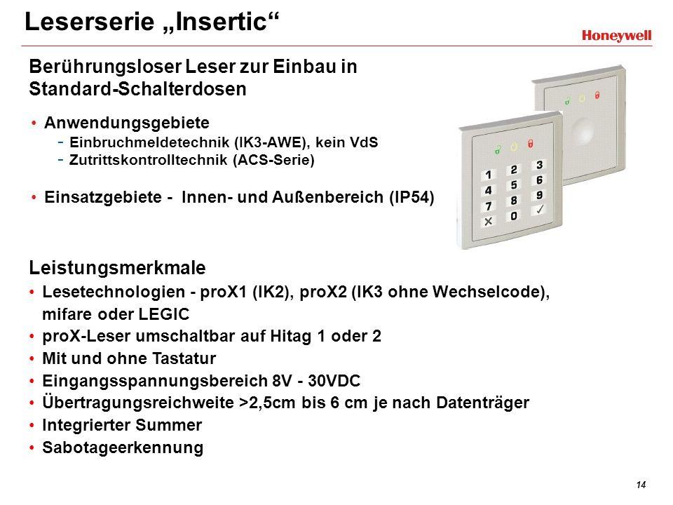 14 Leserserie Insertic Anwendungsgebiete - Einbruchmeldetechnik (IK3-AWE), kein VdS - Zutrittskontrolltechnik (ACS-Serie) Einsatzgebiete - Innen- und