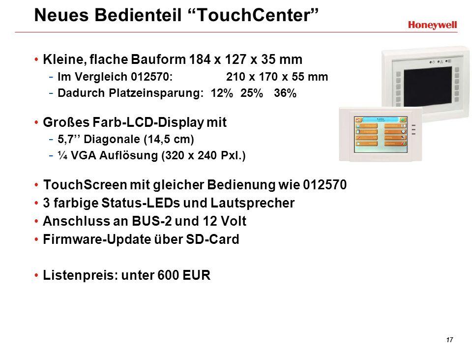 17 Neues Bedienteil TouchCenter Kleine, flache Bauform 184 x 127 x 35 mm - Im Vergleich 012570: 210 x 170 x 55 mm - Dadurch Platzeinsparung: 12% 25% 3