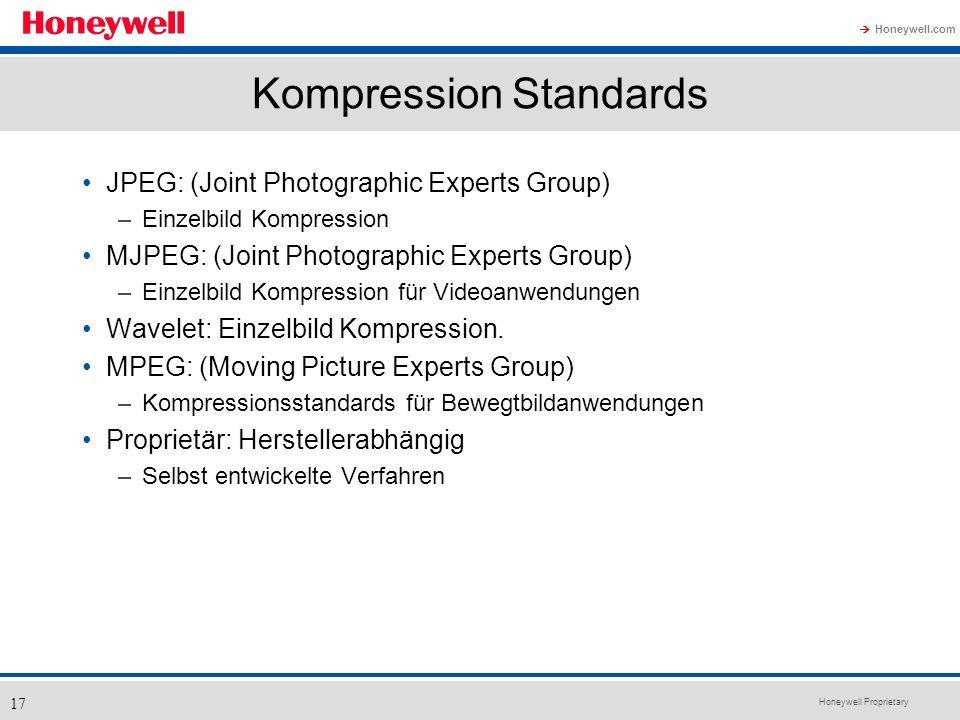 Honeywell Proprietary Honeywell.com 17 Kompression Standards JPEG: (Joint Photographic Experts Group) –Einzelbild Kompression MJPEG: (Joint Photograph
