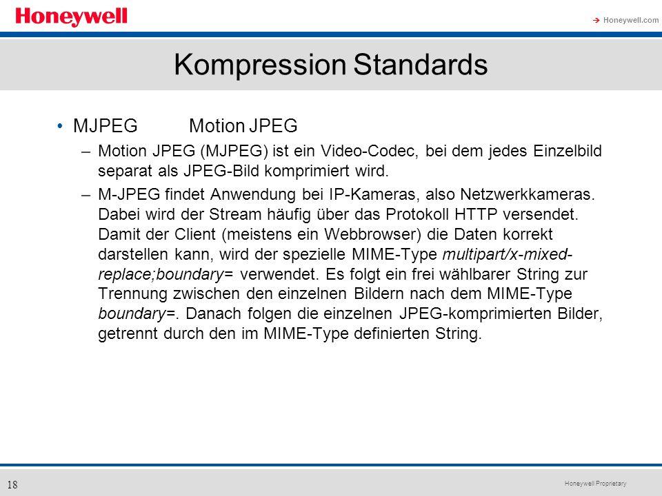 Honeywell Proprietary Honeywell.com 18 Kompression Standards MJPEGMotion JPEG –Motion JPEG (MJPEG) ist ein Video-Codec, bei dem jedes Einzelbild separ