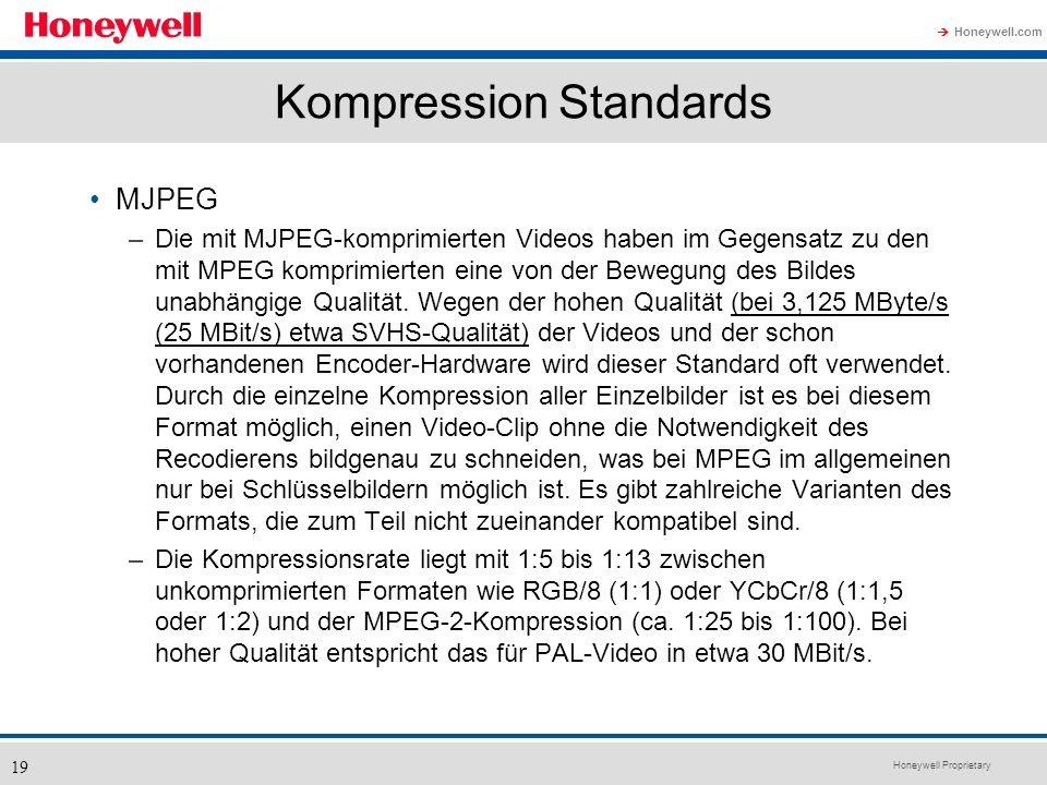 Honeywell Proprietary Honeywell.com 19 Kompression Standards MJPEG –Die mit MJPEG-komprimierten Videos haben im Gegensatz zu den mit MPEG komprimierte