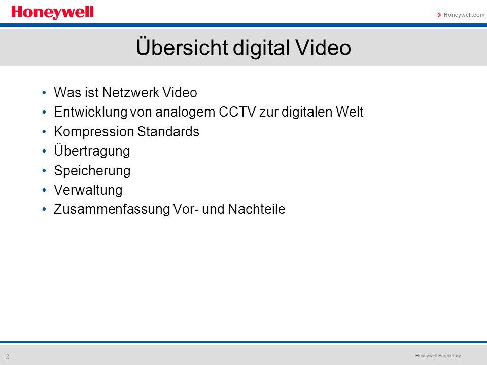 Honeywell Proprietary Honeywell.com 2 Übersicht digital Video Was ist Netzwerk Video Entwicklung von analogem CCTV zur digitalen Welt Kompression Stan