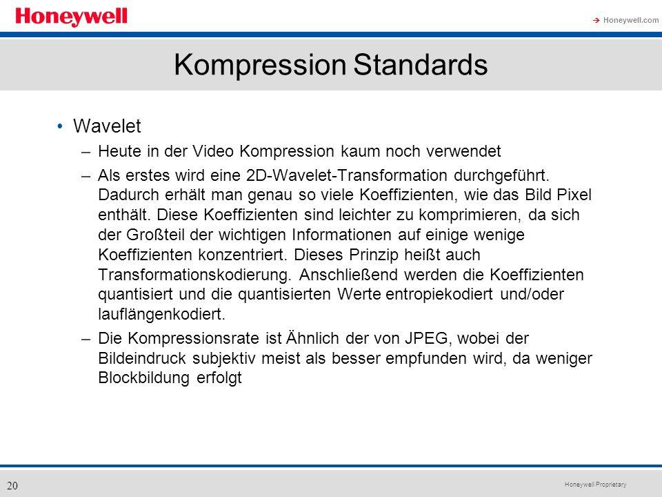 Honeywell Proprietary Honeywell.com 20 Kompression Standards Wavelet –Heute in der Video Kompression kaum noch verwendet –Als erstes wird eine 2D-Wave