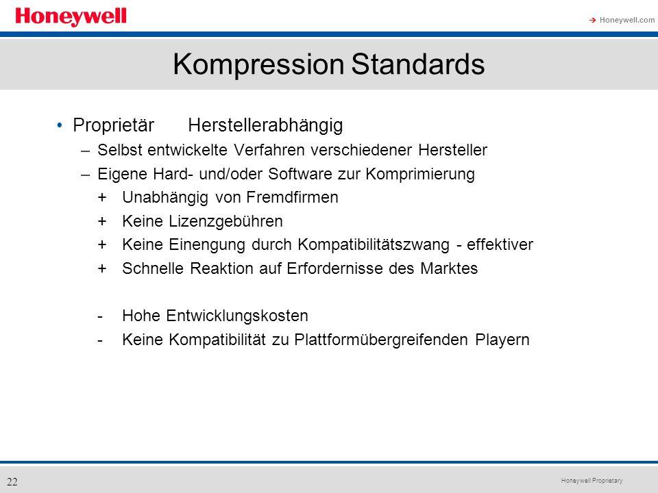 Honeywell Proprietary Honeywell.com 22 Kompression Standards ProprietärHerstellerabhängig –Selbst entwickelte Verfahren verschiedener Hersteller –Eige