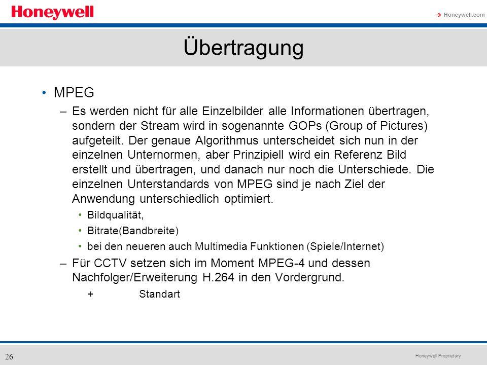 Honeywell Proprietary Honeywell.com 26 Übertragung MPEG –Es werden nicht für alle Einzelbilder alle Informationen übertragen, sondern der Stream wird