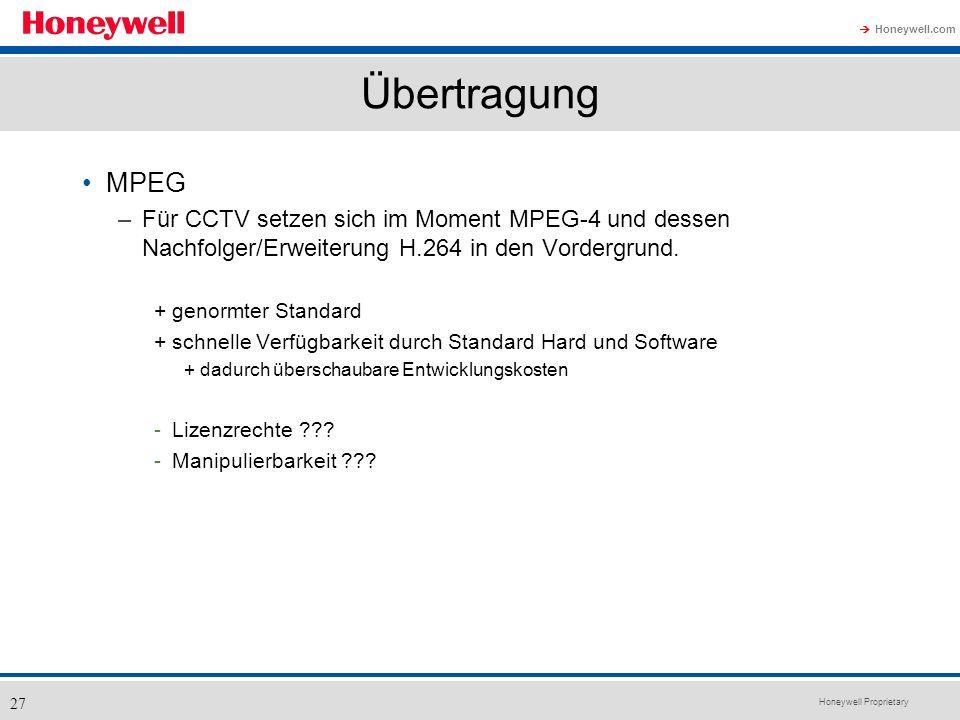 Honeywell Proprietary Honeywell.com 27 Übertragung MPEG –Für CCTV setzen sich im Moment MPEG-4 und dessen Nachfolger/Erweiterung H.264 in den Vordergr