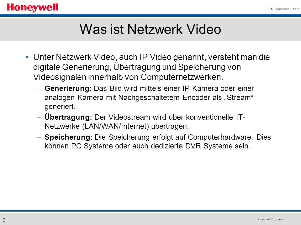 Honeywell Proprietary Honeywell.com 3 Was ist Netzwerk Video Unter Netzwerk Video, auch IP Video genannt, versteht man die digitale Generierung, Übert