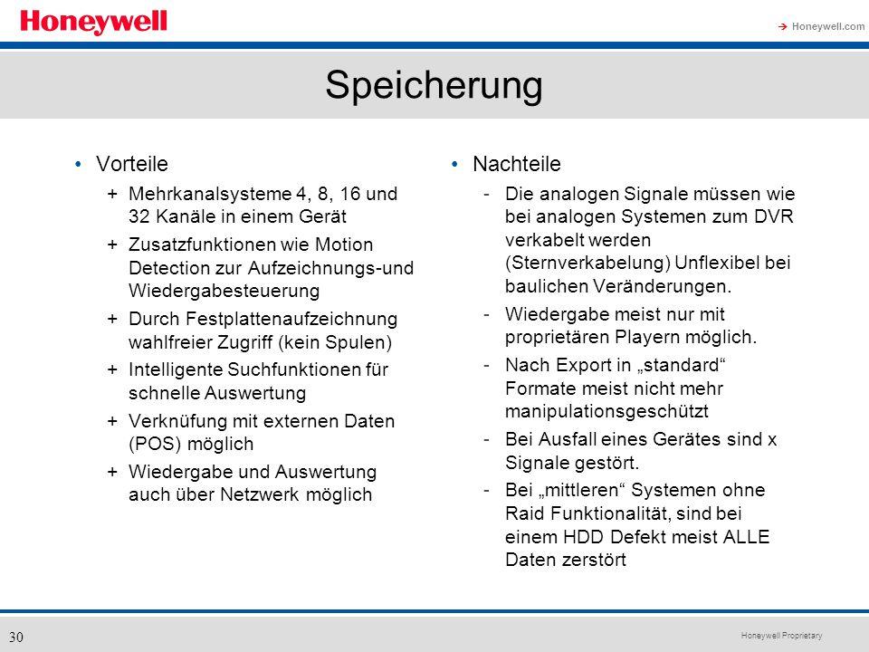 Honeywell Proprietary Honeywell.com 30 Speicherung Vorteile +Mehrkanalsysteme 4, 8, 16 und 32 Kanäle in einem Gerät +Zusatzfunktionen wie Motion Detec