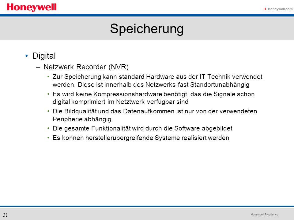 Honeywell Proprietary Honeywell.com 31 Speicherung Digital –Netzwerk Recorder (NVR) Zur Speicherung kann standard Hardware aus der IT Technik verwende