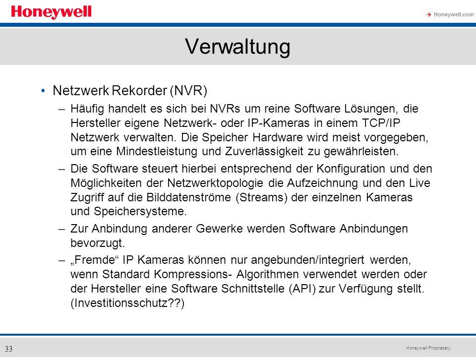 Honeywell Proprietary Honeywell.com 33 Verwaltung Netzwerk Rekorder (NVR) –Häufig handelt es sich bei NVRs um reine Software Lösungen, die Hersteller