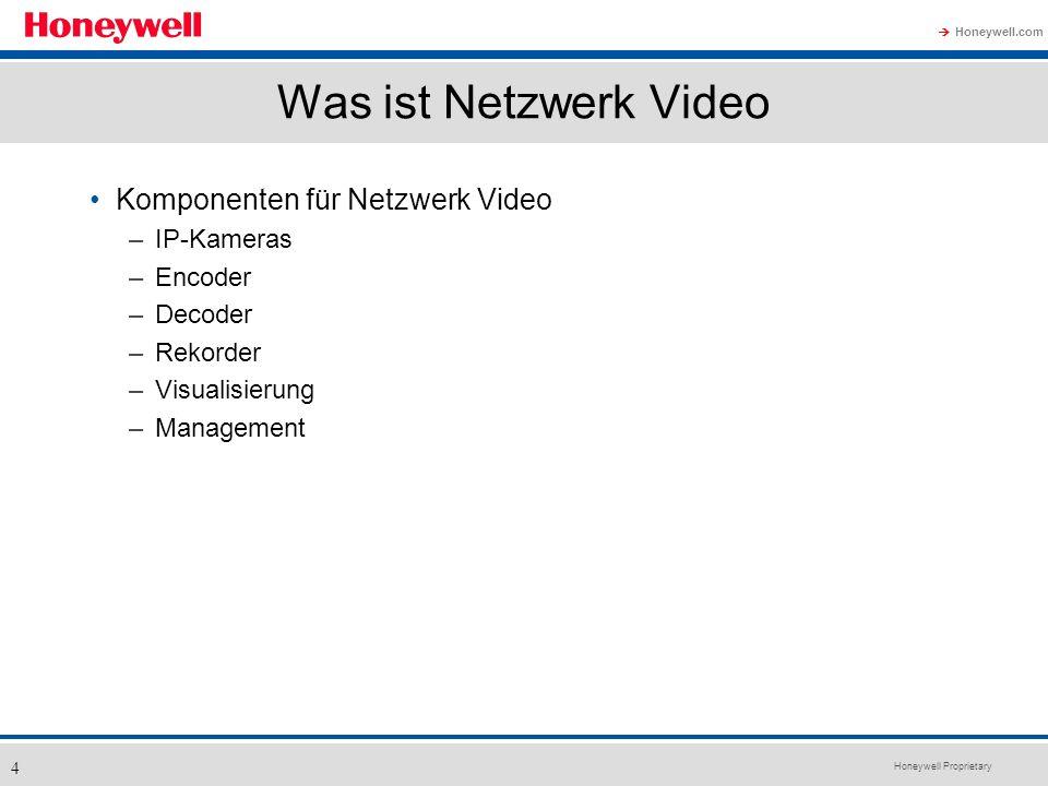 Honeywell Proprietary Honeywell.com 4 Was ist Netzwerk Video Komponenten für Netzwerk Video –IP-Kameras –Encoder –Decoder –Rekorder –Visualisierung –M