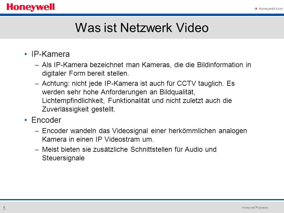 Honeywell Proprietary Honeywell.com 5 Was ist Netzwerk Video IP-Kamera –Als IP-Kamera bezeichnet man Kameras, die die Bildinformation in digitaler For