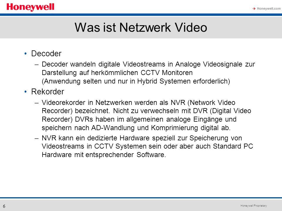 Honeywell Proprietary Honeywell.com 6 Was ist Netzwerk Video Decoder –Decoder wandeln digitale Videostreams in Analoge Videosignale zur Darstellung au