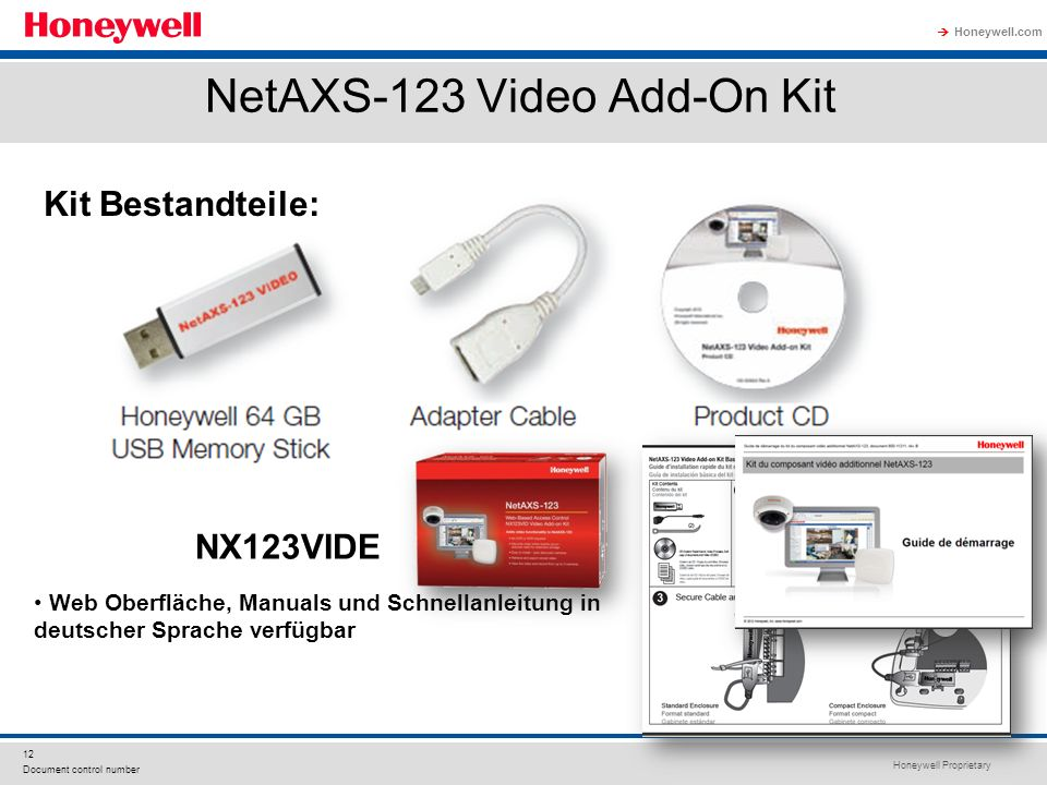 Honeywell Proprietary Honeywell.com 12 Document control number NetAXS-123 Video Add-On Kit Kit Bestandteile: NX123VIDE Web Oberfläche, Manuals und Sch