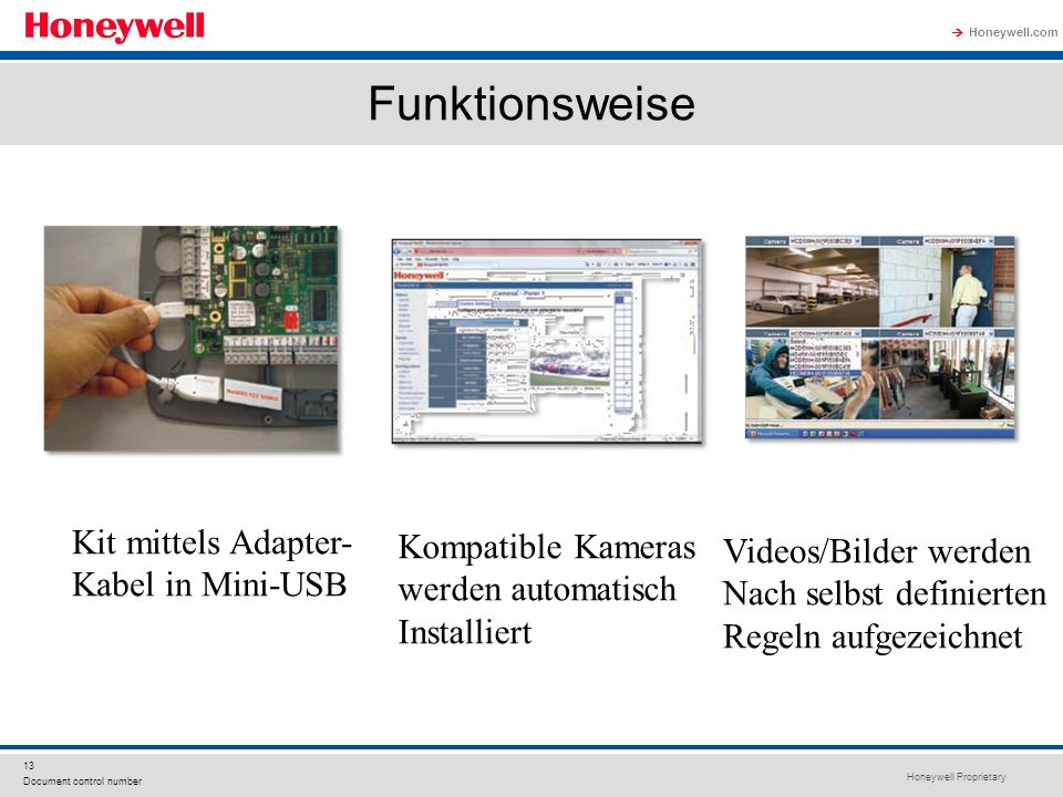 Honeywell Proprietary Honeywell.com 13 Document control number Funktionsweise Kit mittels Adapter- Kabel in Mini-USB Kompatible Kameras werden automat