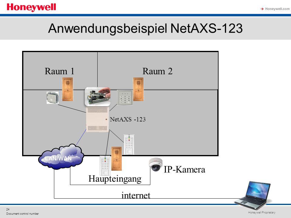 Honeywell Proprietary Honeywell.com 24 Document control number Anwendungsbeispiel NetAXS-123 Raum 1Raum 2 internet Haupteingang NetAXS -123 IP-Kamera