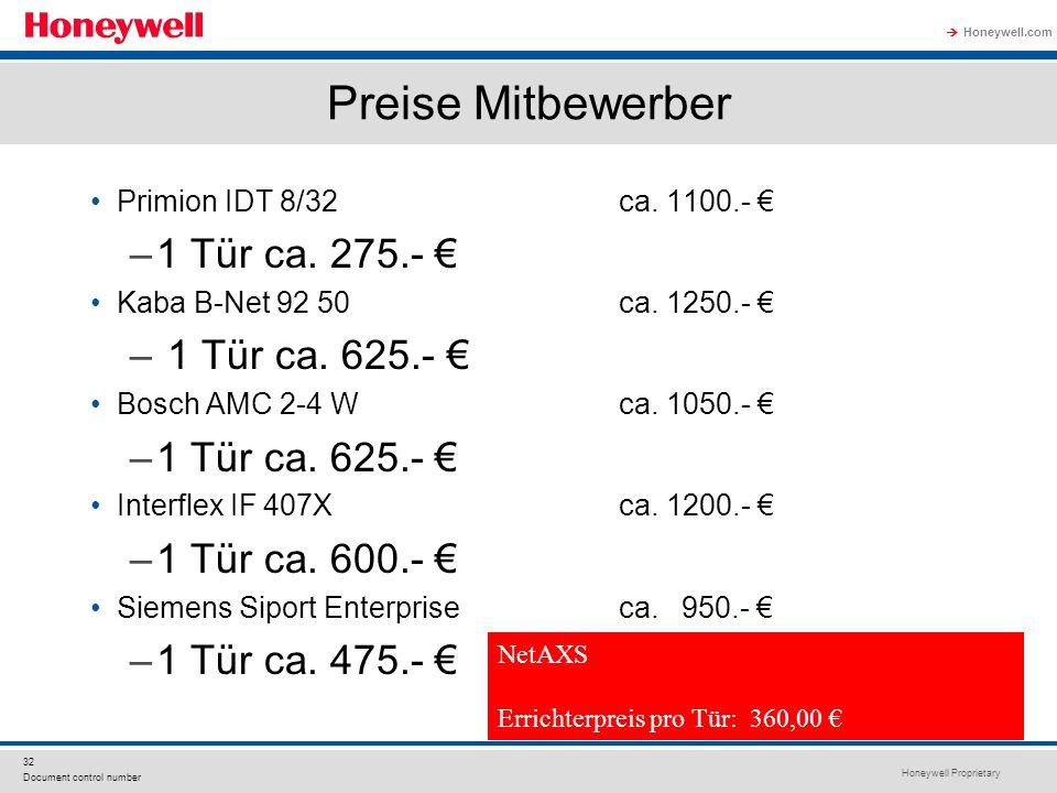 Honeywell Proprietary Honeywell.com 32 Document control number Preise Mitbewerber Primion IDT 8/32ca. 1100.- –1 Tür ca. 275.- Kaba B-Net 92 50ca. 1250