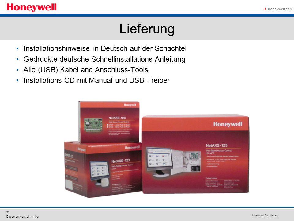 Honeywell Proprietary Honeywell.com 35 Document control number Lieferung Installationshinweise in Deutsch auf der Schachtel Gedruckte deutsche Schnell