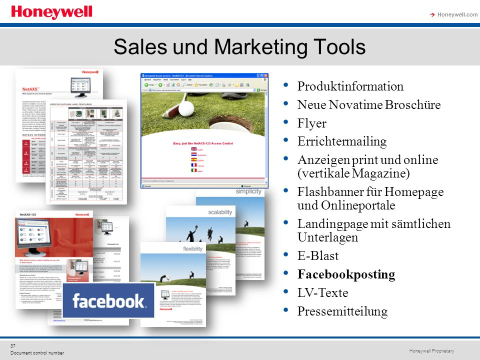 Honeywell Proprietary Honeywell.com 37 Document control number Sales und Marketing Tools Produktinformation Neue Novatime Broschüre Flyer Errichtermai