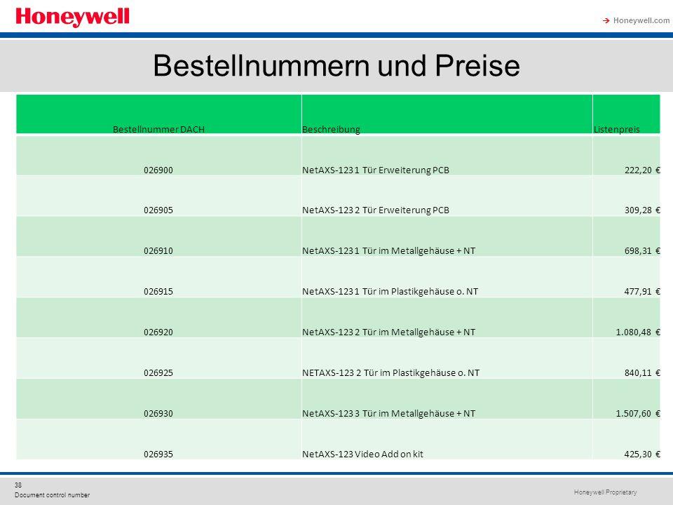 Honeywell Proprietary Honeywell.com 38 Document control number Bestellnummern und Preise Bestellnummer DACHBeschreibungListenpreis 026900NetAXS-123 1