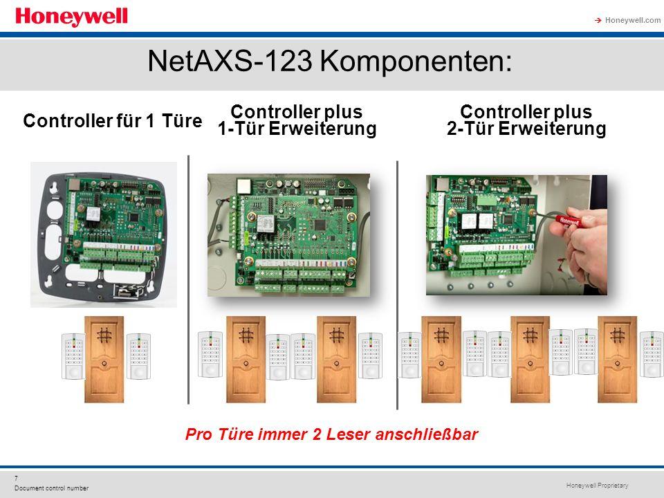Honeywell Proprietary Honeywell.com 7 Document control number NetAXS-123 Komponenten: Controller für 1 Türe Controller plus 1-Tür Erweiterung Controller plus 2-Tür Erweiterung Pro Türe immer 2 Leser anschließbar