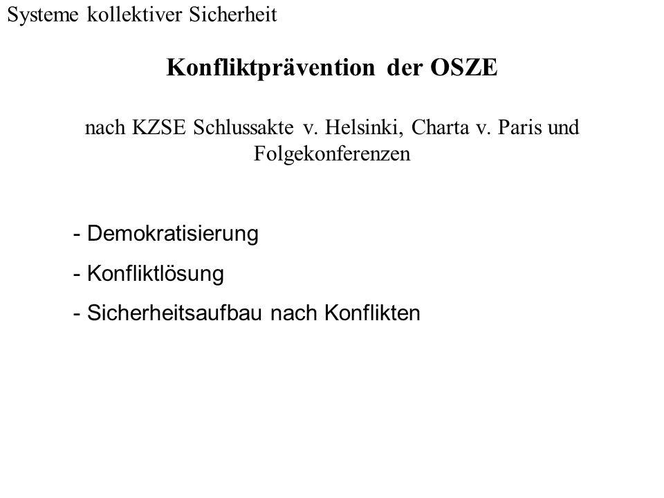 Konfliktprävention der OSZE nach KZSE Schlussakte v. Helsinki, Charta v. Paris und Folgekonferenzen Systeme kollektiver Sicherheit - Demokratisierung