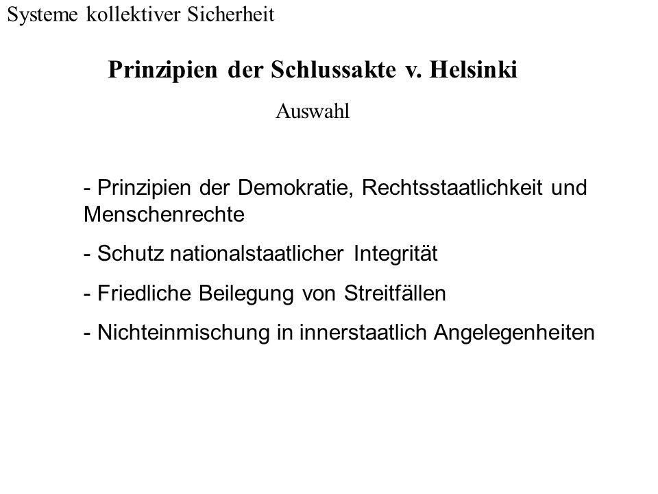 Systeme kollektiver Sicherheit - Prinzipien der Demokratie, Rechtsstaatlichkeit und Menschenrechte - Schutz nationalstaatlicher Integrität - Friedlich