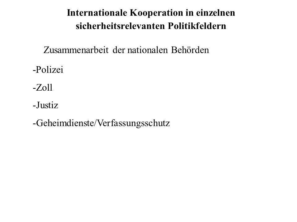 Internationale Kooperation in einzelnen sicherheitsrelevanten Politikfeldern Zusammenarbeit der nationalen Behörden -Polizei -Zoll -Justiz -Geheimdien