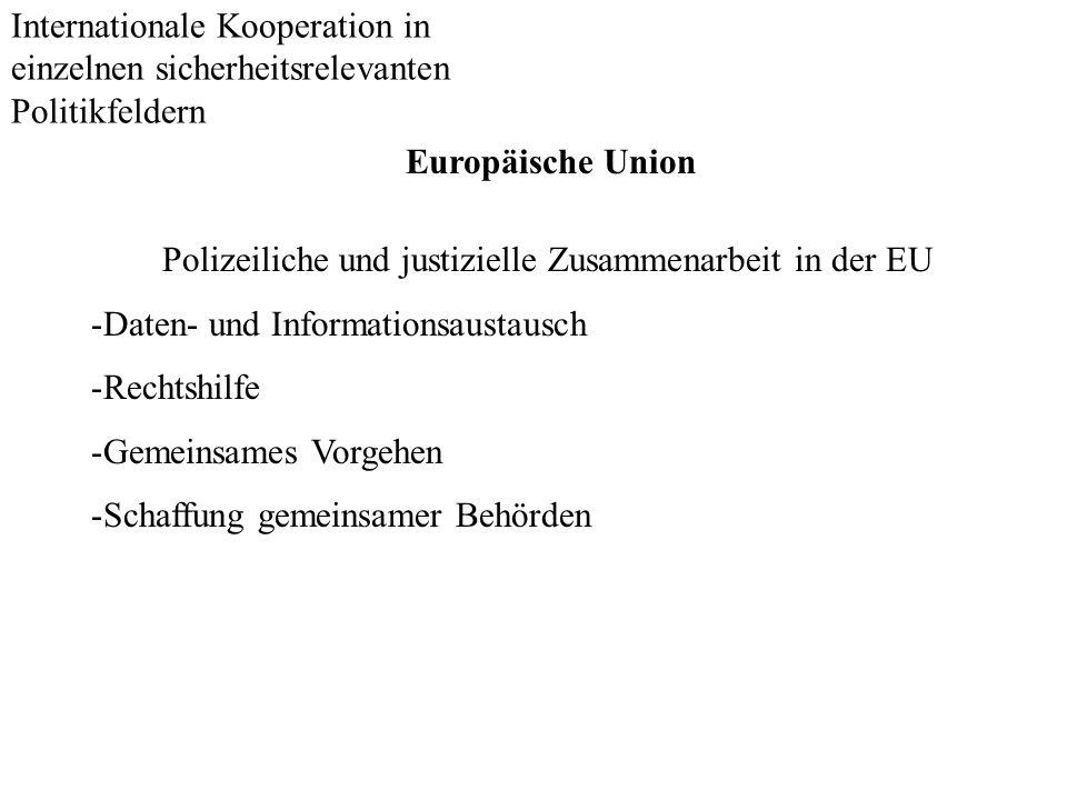 Internationale Kooperation in einzelnen sicherheitsrelevanten Politikfeldern Europäische Union Polizeiliche und justizielle Zusammenarbeit in der EU -