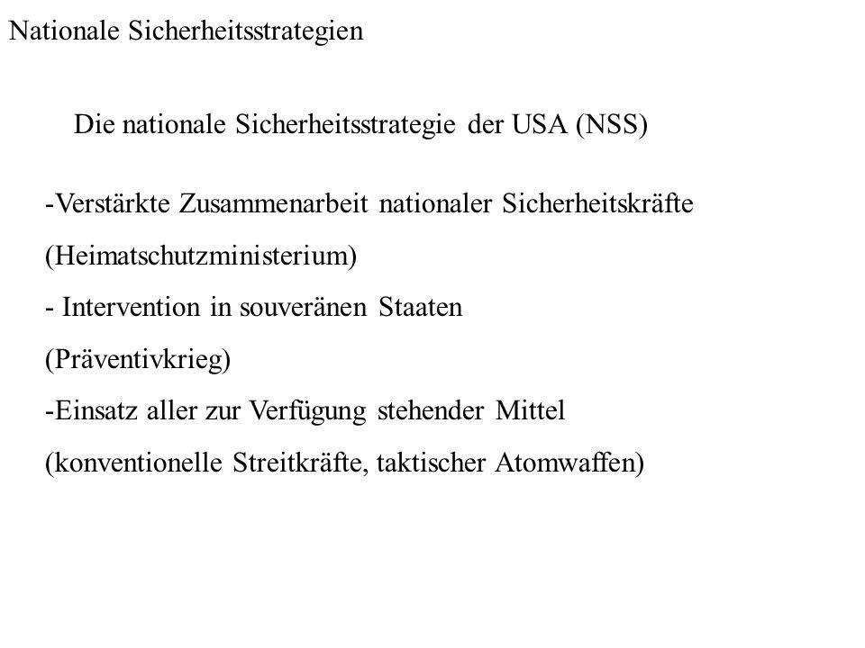Nationale Sicherheitsstrategien Die nationale Sicherheitsstrategie der USA (NSS) -Verstärkte Zusammenarbeit nationaler Sicherheitskräfte (Heimatschutz