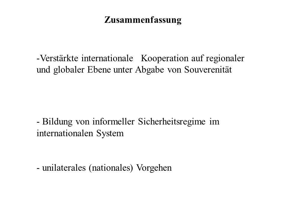 -Verstärkte internationale Kooperation auf regionaler und globaler Ebene unter Abgabe von Souverenität - Bildung von informeller Sicherheitsregime im