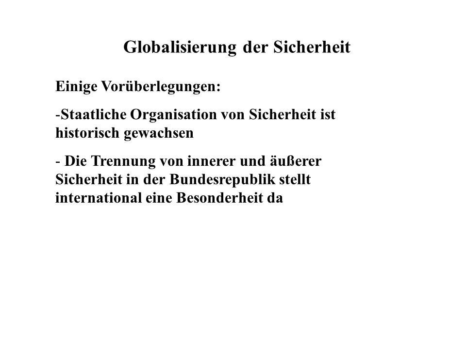 Globalisierung der Sicherheit Einige Vorüberlegungen: -Staatliche Organisation von Sicherheit ist historisch gewachsen - Die Trennung von innerer und