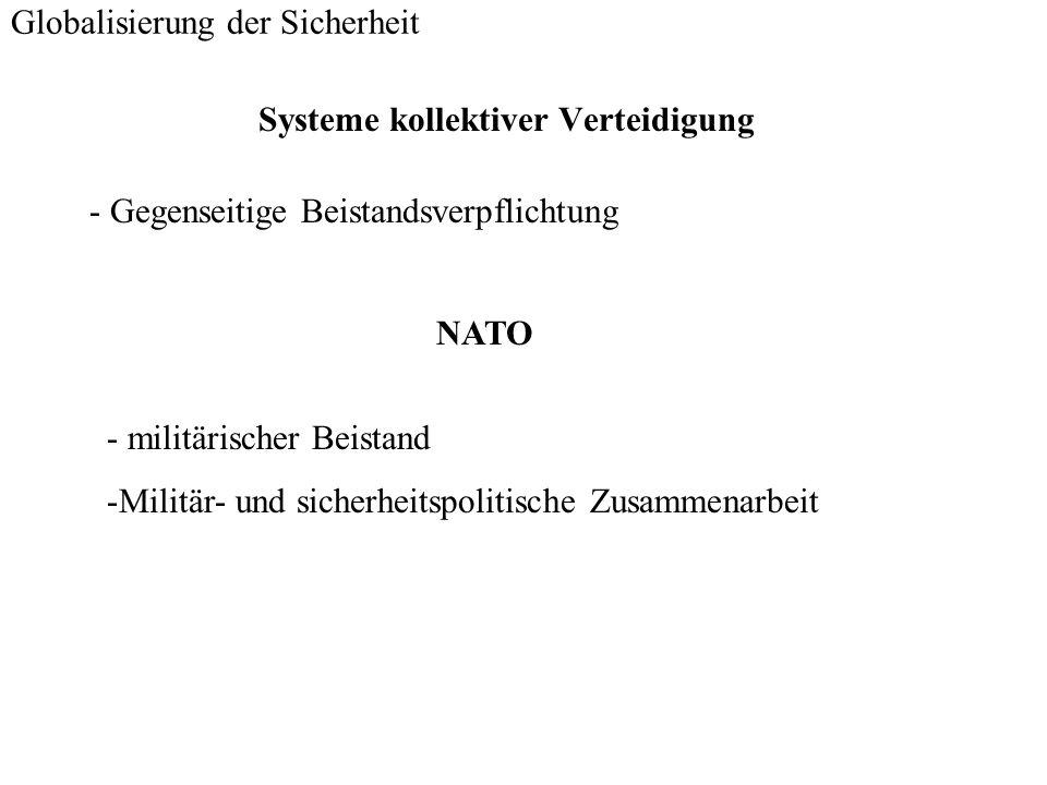 Systeme kollektiver Verteidigung Globalisierung der Sicherheit - Gegenseitige Beistandsverpflichtung NATO - militärischer Beistand -Militär- und siche