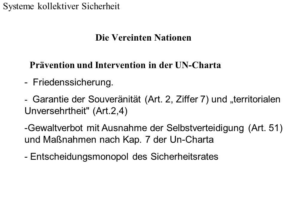 Auszüge aus Kapitel 7 der UN-Charta (Maßnahmen bei Bedrohung oder Bruch des Friedens und bei Angriffshandlungen) Systeme kollektiver Sicherheit Artikel 39 Der Sicherheitsrat stellt fest, ob eine Bedrohung oder ein Bruch des Friedens oder eine Angriffshandlung vorliegt; er gibt Empfehlungen ab oder beschließt, welche Maßnahmen auf Grund der Artikel 41 und 42 zu treffen sind, um den Weltfrieden und die internationale Sicherheit zu wahren oder wiederherzustellen.