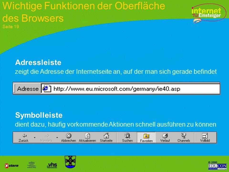 Steuerungsbereich Anzeigefenster Statusleiste Die Benutzeroberfläche des Browsers Seite 19