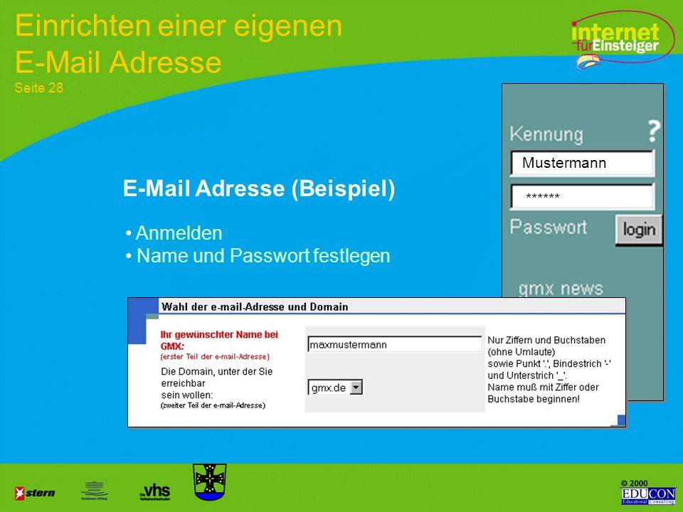 Schritte zur eigenen E-Mail-Adresse: 1.Aufrufen der Seite 2.Anmelden 3.Formulare bearbeiten 4.Namen und Länderkennung 5.Interessen eintragen (optional
