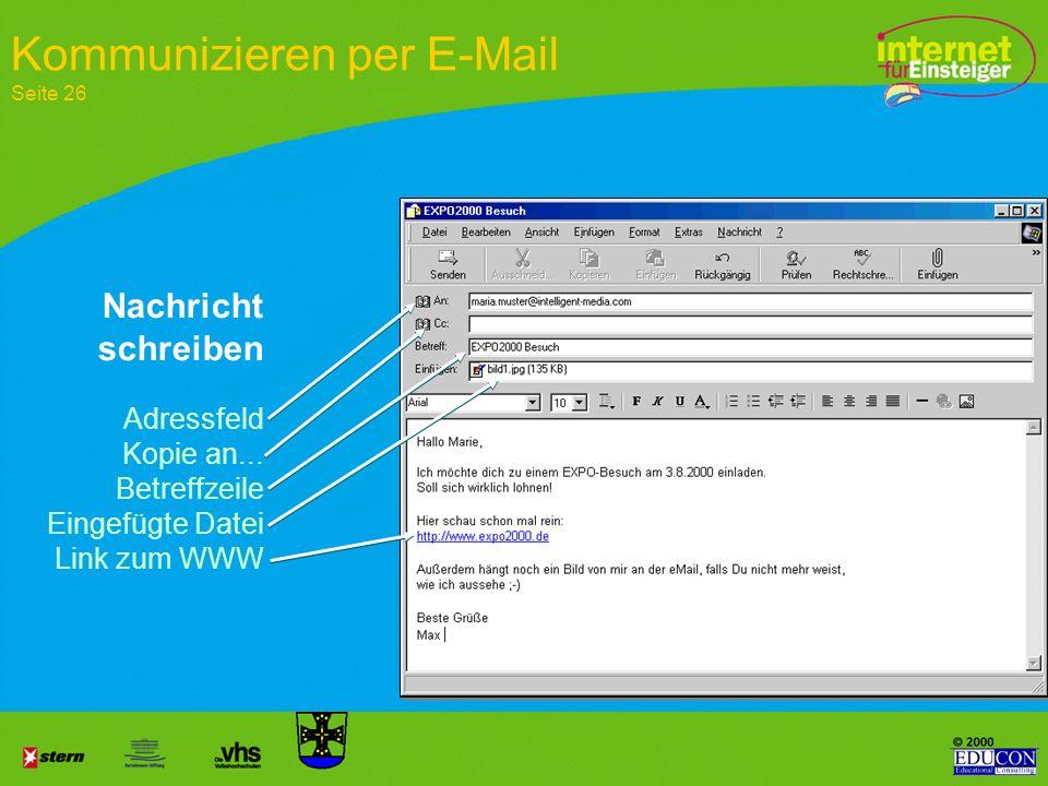 Nach der Rückmeldung ist die E-Mail Adresse eingerichtet Bestätigung Einrichten einer eigenen E-Mail Adresse Seite 28