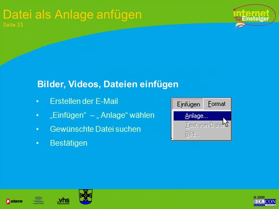 Darstellung als HTML Ausdruck Die HTML-Zeile beschreibt den Link zu dem Dokument HTML Ausdruck HTML im Browser- Fenster Seite 15