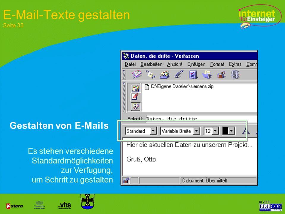 Erstellen der E-Mail Einfügen – Anlage wählen Gewünschte Datei suchen Bestätigen Bilder, Videos, Dateien einfügen Datei als Anlage anfügen Seite 33