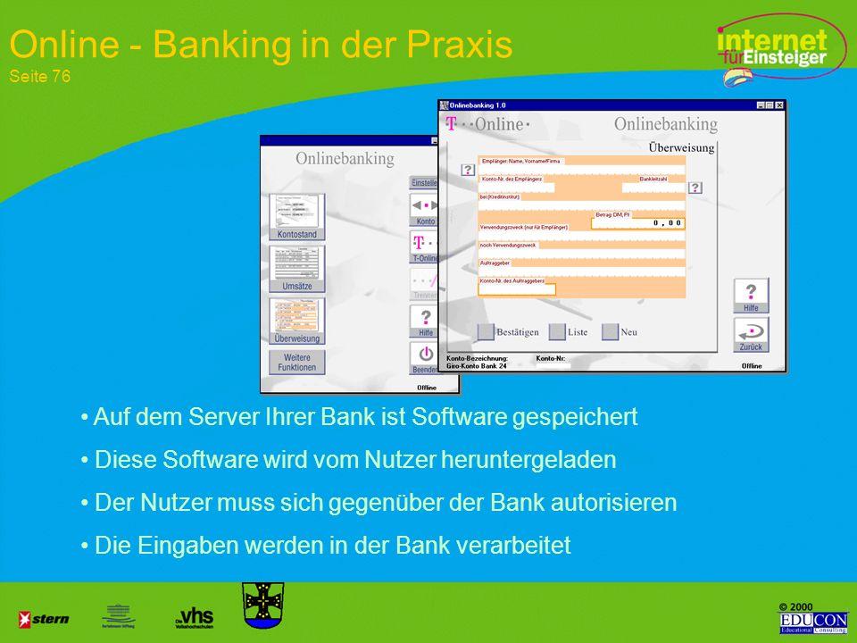 Zahlungsverkehr Sicherheit durch PIN und TAN Geldanlage Internet - Banking Seite 77